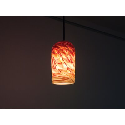 Rose 1-Light Drum Pendant Size: 47 H x 6 W x 6 D, Shade Color: Red Hot