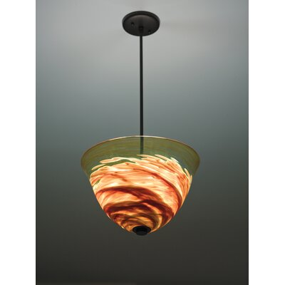 Rose 3-Light Inverted Pendant Finish: Bronze, Shade Color: Amber, Size: 41 H 16 W x 16 D