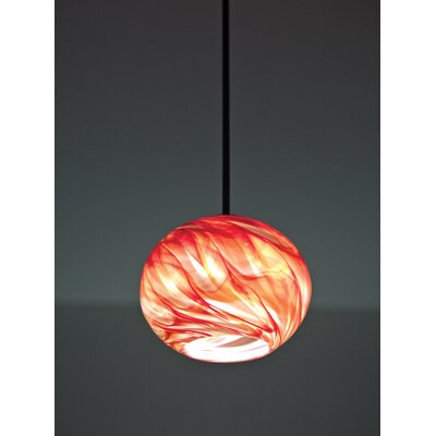 Rose 1-Light Globe Pendant Finish: Bronze, Shade Color: Clear Red Hot, Size: 15 H x 8 W x 8 D