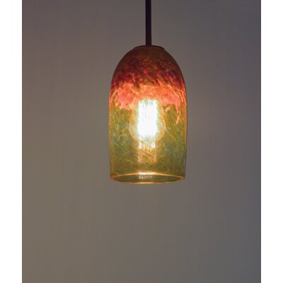 Rose 1-Light Mini Pendant Size: 17 H x 6 W x 6 D, Finish: Brushed Nickel, Shade Color: Red Amber
