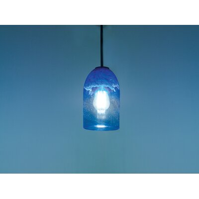 Rose 1-Light Mini Pendant Finish: Bronze, Shade Color: Clear Blue, Size: 17 H x 6 W x 6 D