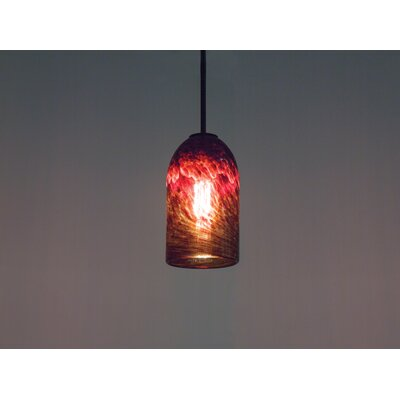 Rose 1-Light Mini Pendant Finish: Bronze, Shade Color: Clear Dark Amber, Size: 17 H x 6 W x 6 D