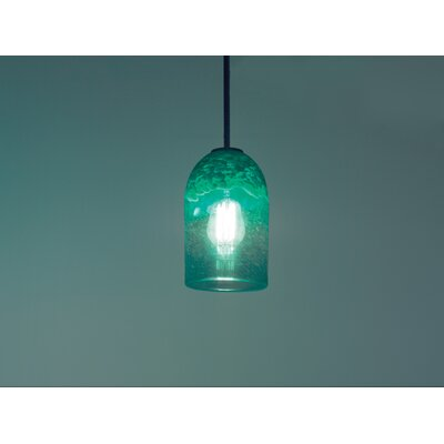 Rose 1-Light Drum Pendant Size: 47 H x 6 W x 6 D, Shade Color: Clear Green