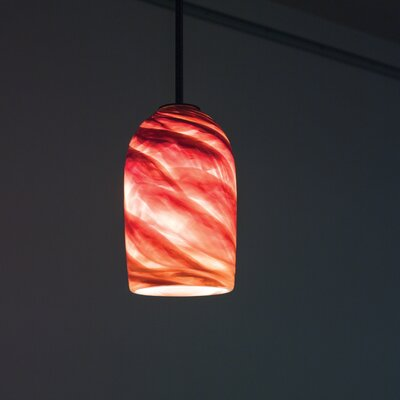 Rose 1-Light Drum Pendant Shade Color: Amber, Size: 17 H x 6 W x 6 D