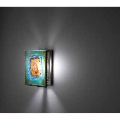 FN3IO Outdoor Wall Sconce with Three Magic Art Glass Panels