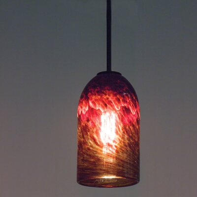 Rose 1-Light Drum Pendant Shade Color: Clear Dark Amber, Size: 17 H x 6 W x 6 D