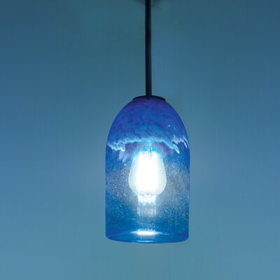 Rose 1-Light Drum Pendant Shade Color: Clear Blue, Size: 17 H x 6 W x 6 D