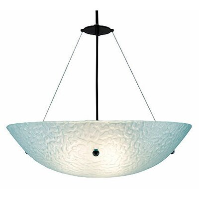 3-Light Bowl Inverted Pendant Glass Color: Phantom Blue, Drop: 53