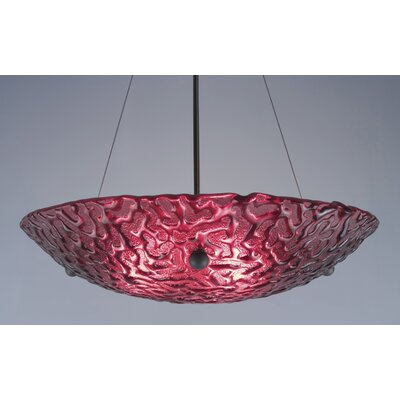 3-Light Bowl Inverted Pendant Glass Color: Whirlpool Red, Drop: 43