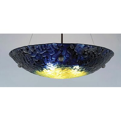 3-Light Bowl Inverted Pendant Glass Color: Whirlpool Blue, Drop: 43
