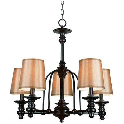Modern Meets Traditional 5 Light Shaded Chandelier