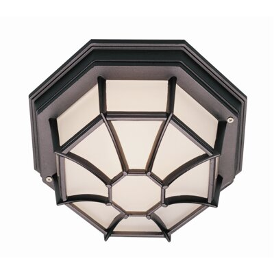 Outdoor 1-Light Flush Mount Finish: Verde Green, Size: 4 H x 9 W