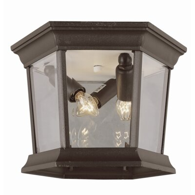 Outdoor 3-Light Flush Mount Finish: Black Gold