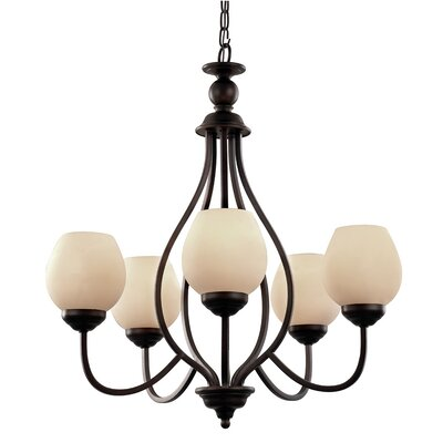 Clarissa 5-Light Shaded Chandelier Finish: Polished Nickel