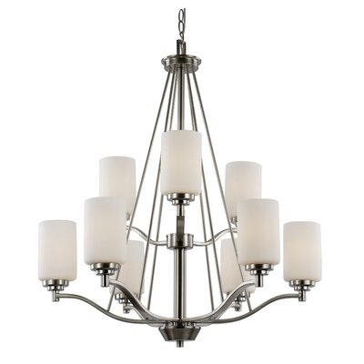 Mod Space 9-Light Shaded Chandelier Finish: Rubbed Oil Bronze