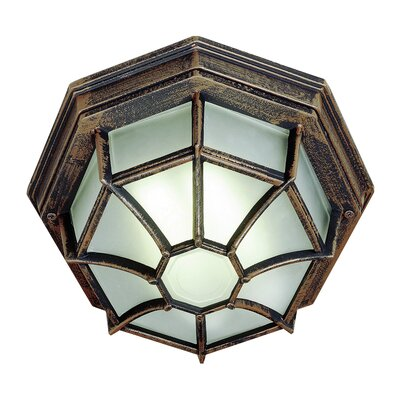 Outdoor 1-Light Flush Mount Finish: Rust, Size: 4 H x 9 W