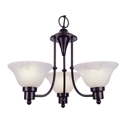 Contemporary 3-Light Shaded Chandelier Finish: Weathered Bronze