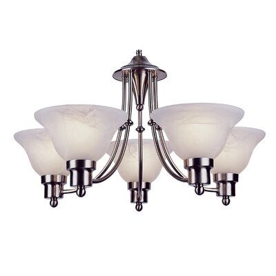 Contemporary 5-Light Shaded Chandelier Finish: Brushed Nickel
