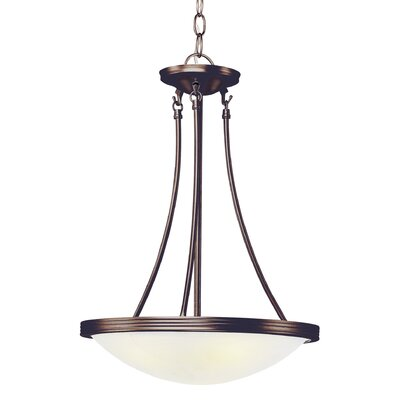 3-Light Inverted Pendant Finish: Rubbed Oil Bronze, Size: 21