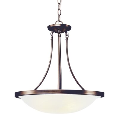 3-Light Inverted Pendant Finish: Rubbed Oil Bronze, Size: 22 H x 19 W