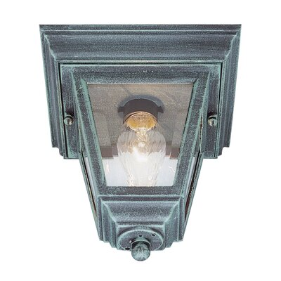 Outdoor 1-Light Flush Mount Finish: Verde Green