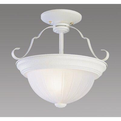 2-Light Semi Flush Mount Fixture Finish: Antique White, Size: 11 H x 13 W x 13 D