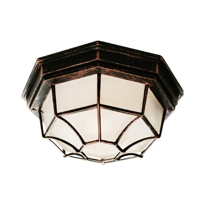 Outdoor 1-Light Flush Mount Finish: Black Copper, Size: 4 H x 9 W