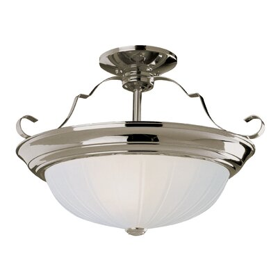 2-Light Semi Flush Mount Fixture Finish: Brushed Nickel, Size: 11 H x 15 W x 15 D