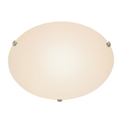 2-Light Small Flush Mount Finish: Brushed Nickel, Size: 6 H x 20 W