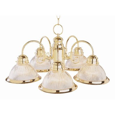 Back To Basics 5-Light Shaded Chandelier Finish: Polished Brass