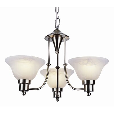 Contemporary 3-Light Shaded Chandelier Finish: Brushed Nickel