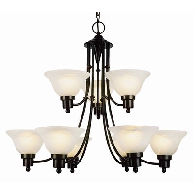 Contemporary 9-Light Shaded Chandelier Finish: Weathered Bronze