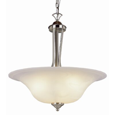 Contemporary 3-Light Inverted Pendant Finish: Brushed Nickel