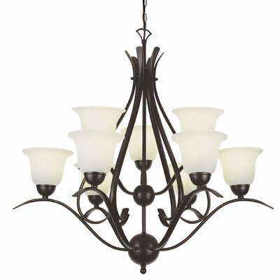 Contemporary 9-Light Shaded Chandelier Finish: Rubbed Oil Bronze