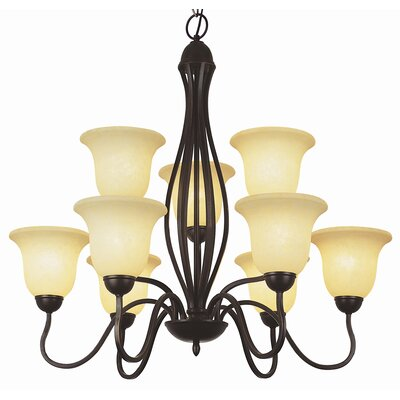 9-Light Shaded Chandelier Finish: Rubbed Oil Bronze with Amber Glass