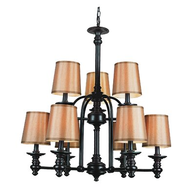 Modern Meets Traditional 9 Shaded Chandelier