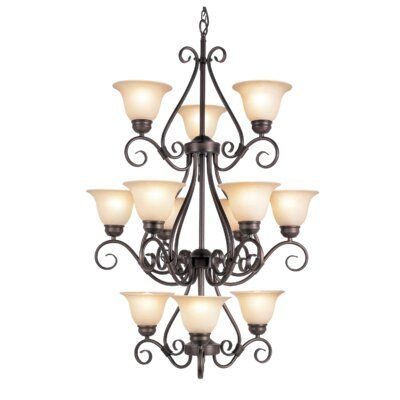 Victorian 12-Light Shaded Chandelier