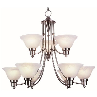 Contemporary 9-Light Shaded Chandelier Finish: Brushed Nickel