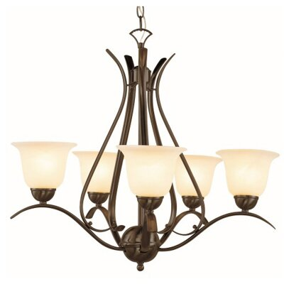 Contemporary 5-Light Shaded Chandelier Finish: Rubbed Oil Bronze