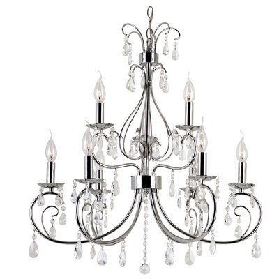 Chic Nouveau 9-Light Crystal Chandelier