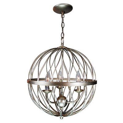Brittain 3-Light Globe Pendant Finish: Antique Silver Leaf