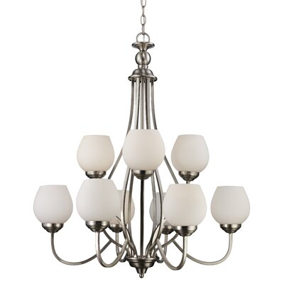 Willowbrook 9-Light Shaded Chandelier Finish: Brushed Nickel