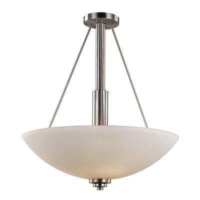 Alvey 3-Light Bowl Pendant Finish: Brushed Nickel, Size: 25 H x 20 W x 20 D