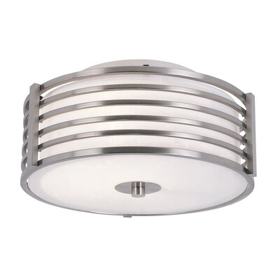 2-Light Small Metal Flush Mount Size: 10 H x 16.25 W