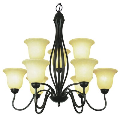 9-Light Shaded Chandelier Finish: Brushed Nickel