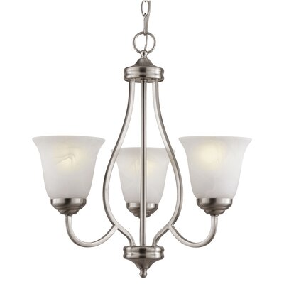 3-Light Shaded Chandelier Finish: Brushed Nickel