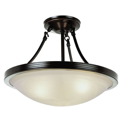 3-Light Semi Flush Mount Finish: Brushed Nickel