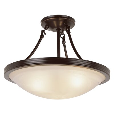 3-Light Semi Flush Mount Finish: Rubbed Oil Bronze