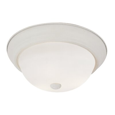 Button Frost 2-Light Flush Mount Finish: Antique White, Size: 6 H x 13 W