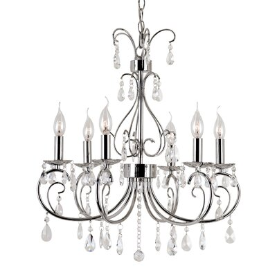 Chic Nouveau 6-Light Crystal Chandelier